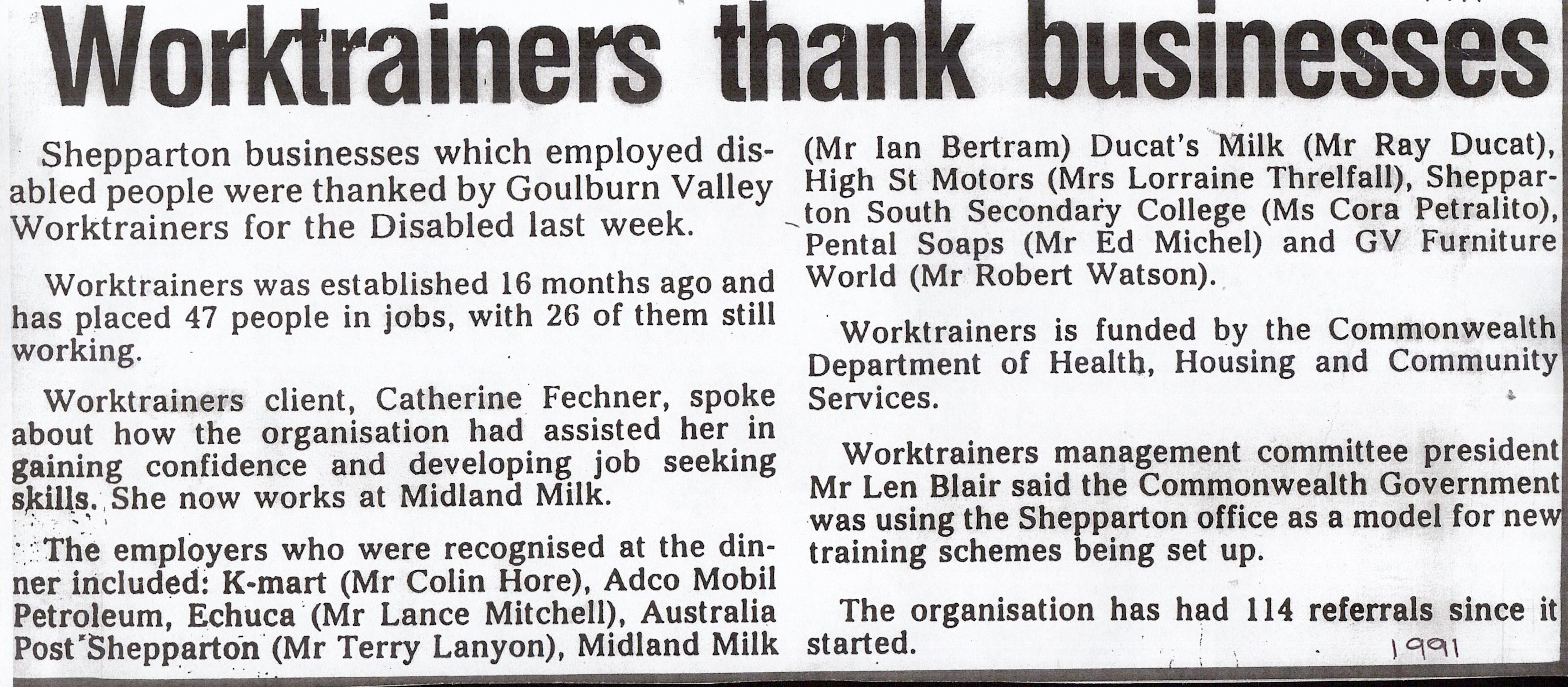 "Article in Shepparton News, 1991. Headline ""Worktrainers thank businesses"""