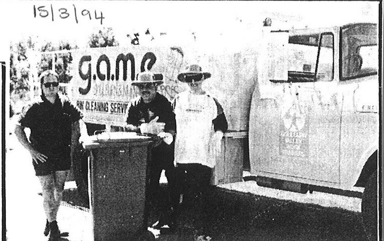 hoto from The Shepparton Adviser 1994 - Bin Cleaning Truck with staff, including GAME Manager, Peter Brady.